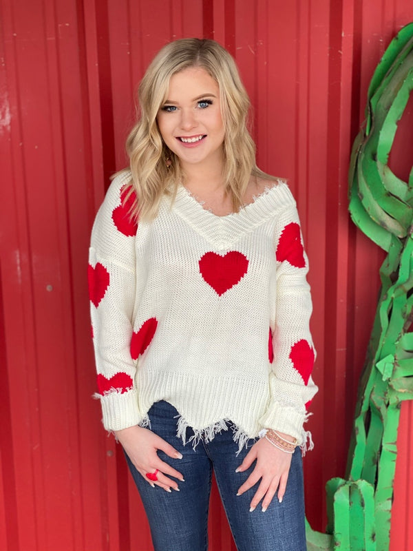 Red Heart Print Distressed Sweater