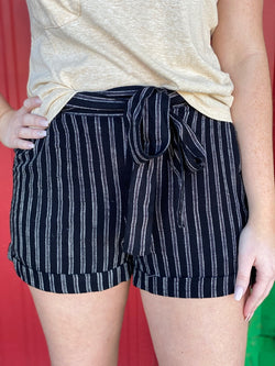 Black Stripe Tie Belt Shorts