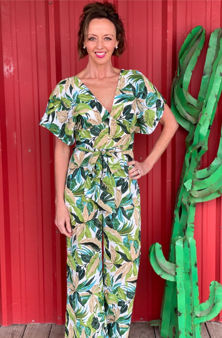 Tropical Green Woven Jumpsuit