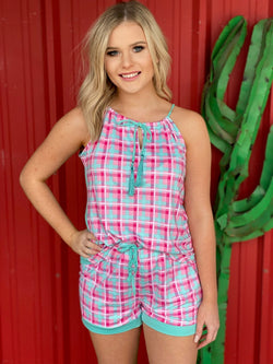 Tropical Punch Plaid Sleep Cami