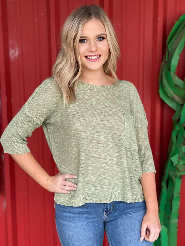 Sage Lightweight Knit Blouse