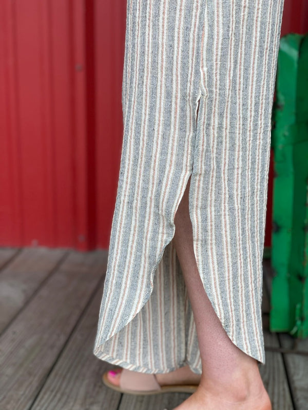 Linen Peach Stripe Pants