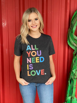 All You Need is Love Graphic Tee Grey