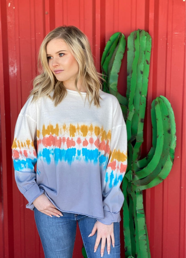 Long Sleeve Multi Color Washed Tie Dye