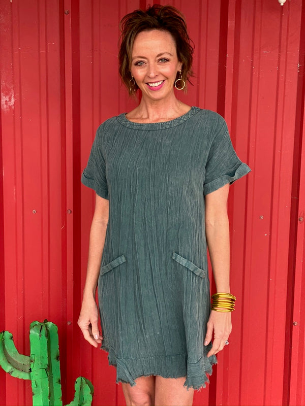 Round Neck Dress In Army Green