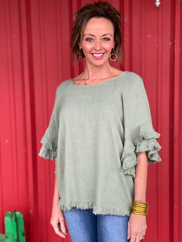 Sage Linen Blend Frayed Top