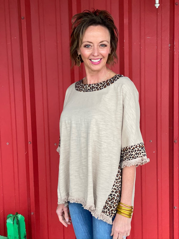 Latte Animal Print Side Slit Hem