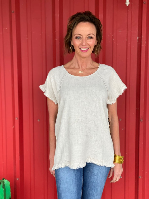 Oatmeal Scoopneck Top With Leopard Print Back