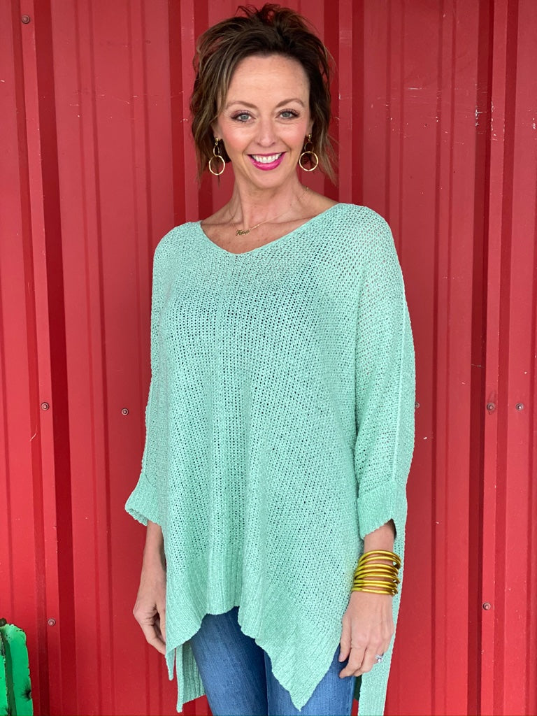 3/4 Sleeve Hi Low Knit Sweater Top with Folded Cuffs Mint Sage