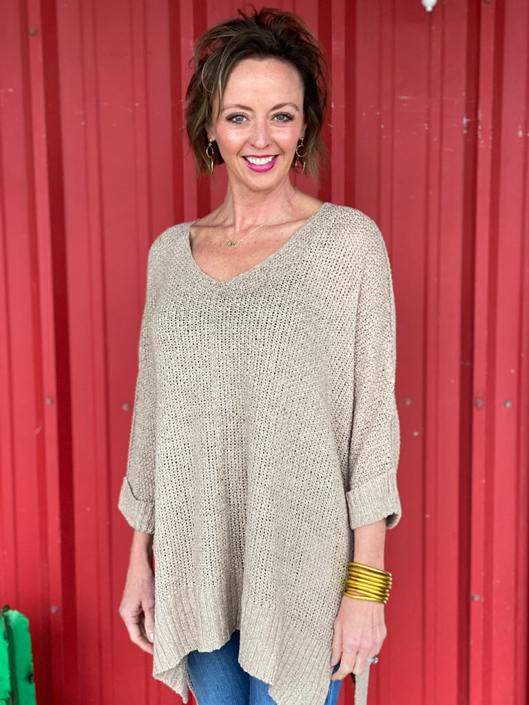 3/4 Sleeve Hi Low Sweater with Folded Cuffs Taupe