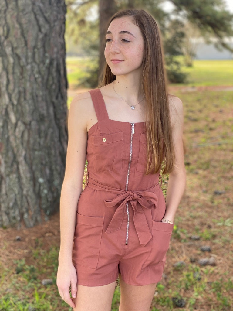 Clay Romper With Zipper and Belt