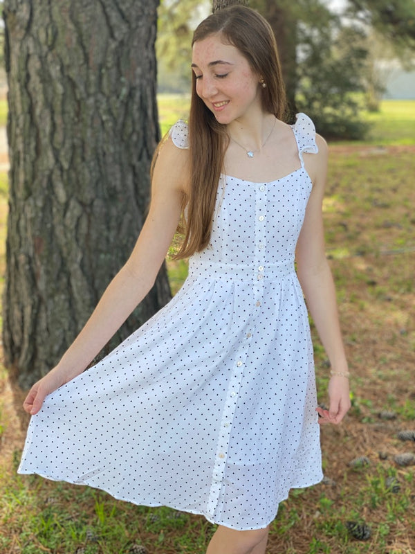 White Polka Dot maxi Dress