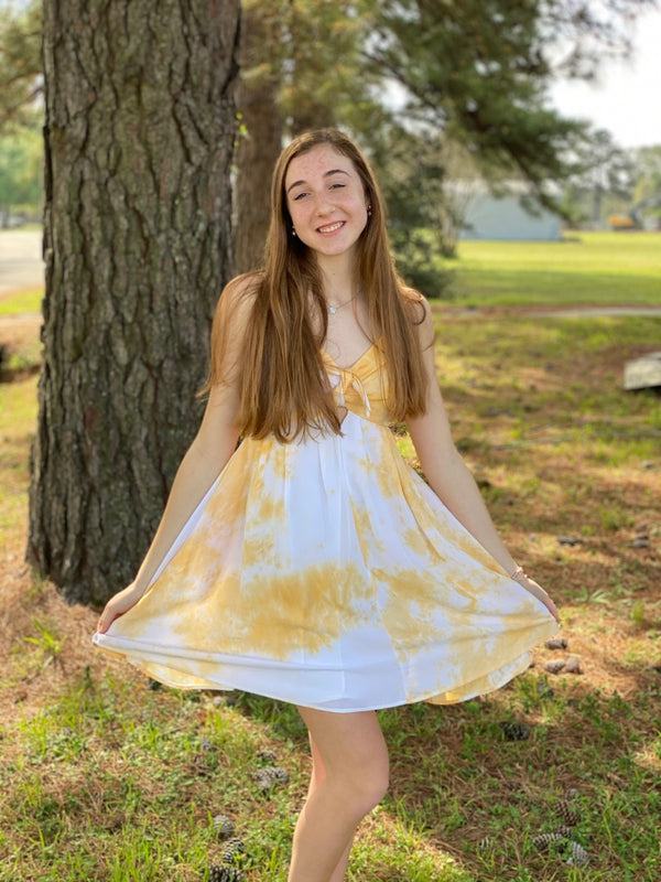 Yellow Tie Dye Dress