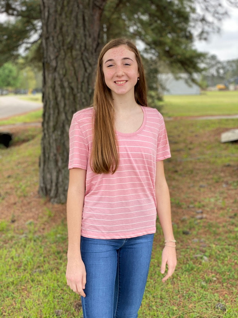 Pink & White Stripe Basic Tee