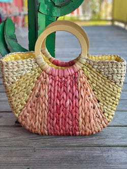 Women's Cornhusk Tote Circular Wood Handle