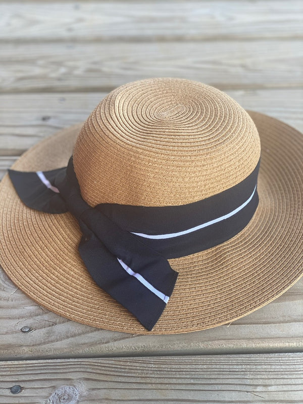Women's Sun Hat with Oversized Stripe Bow