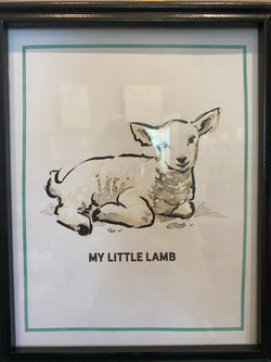 Wood Framed Wall Decor Lamb