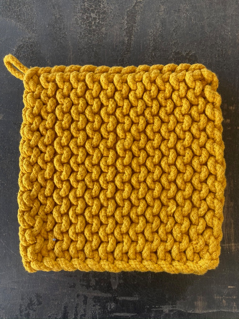 Square Cotton Crocheted Yellow
