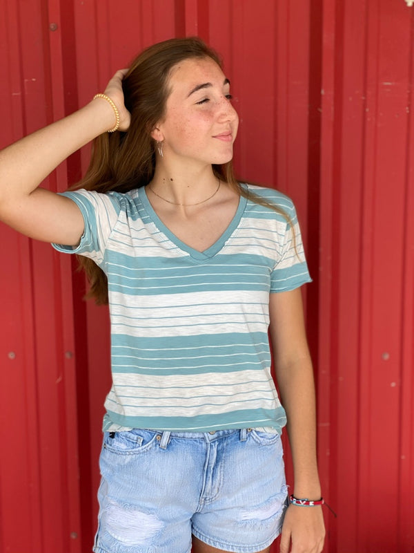 The Mesa Stripe Slouchy Tee Cameo Blue