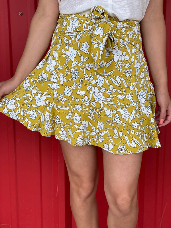Yellow Floral Skirt with Bow