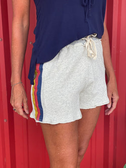 Stripe Screen Printed French Terry Shorts