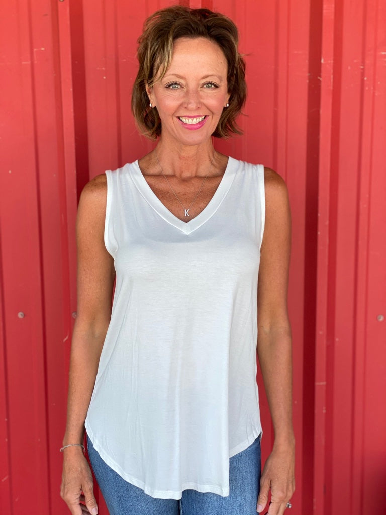 Bamboo V Neck Sleeveless Top in Ivory