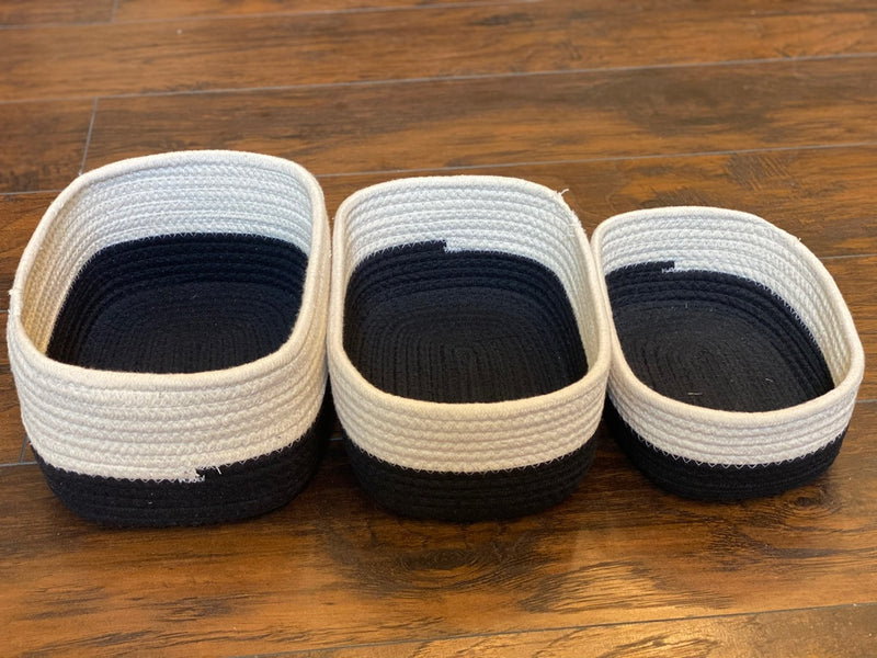 Rectangular White Cotton Rope Baskets with Black Bottoms