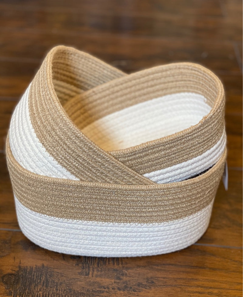 Rectangular Natural Cotton Rope Baskets with White Bottoms