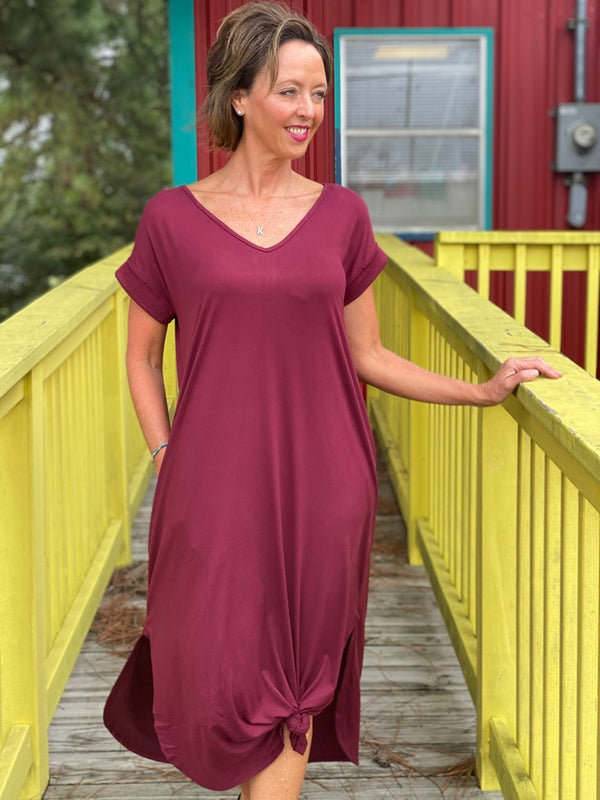 Burgundy Suede Maxi Dress