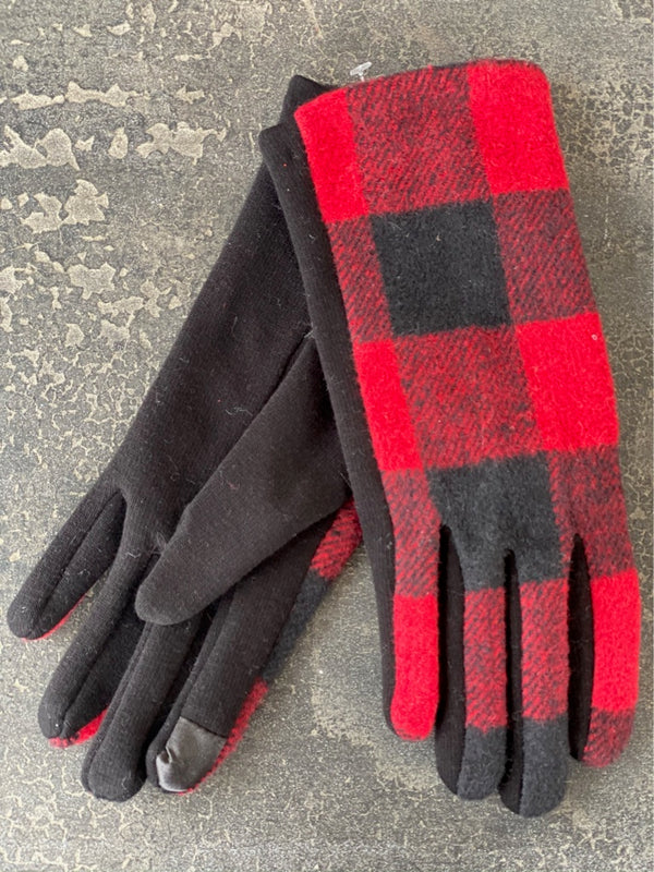 Polyester Gloves Red Buffalo Plaid