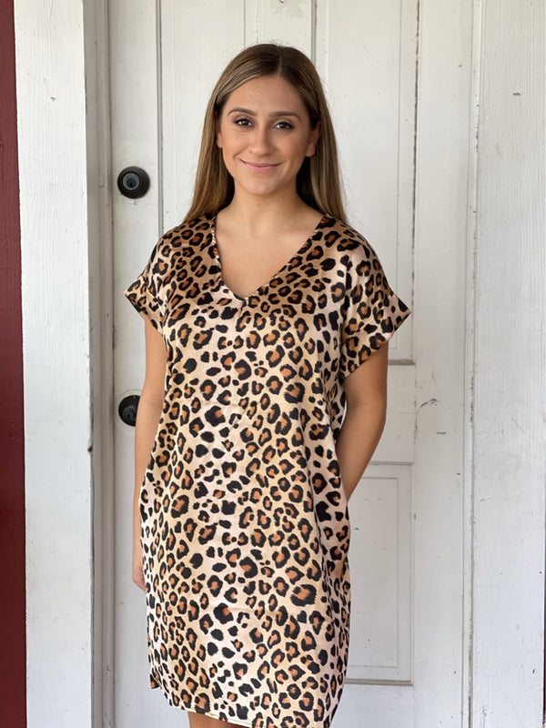 Brown Leopard Silk Like Dress With Pockets