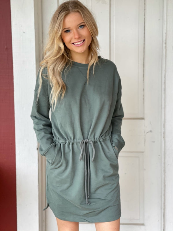 Drawstring Waist Knit Dress in Green