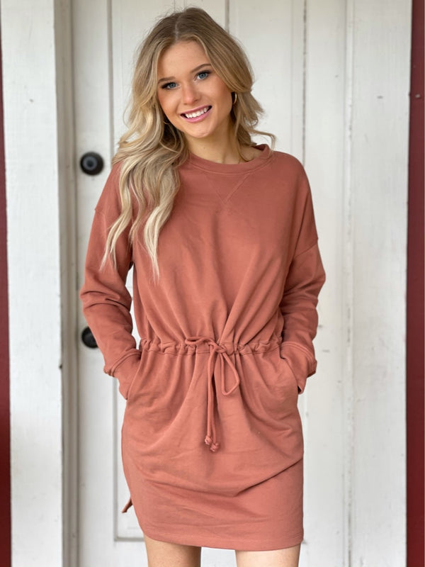 Drawstring Waist Knit Dress in Sienna