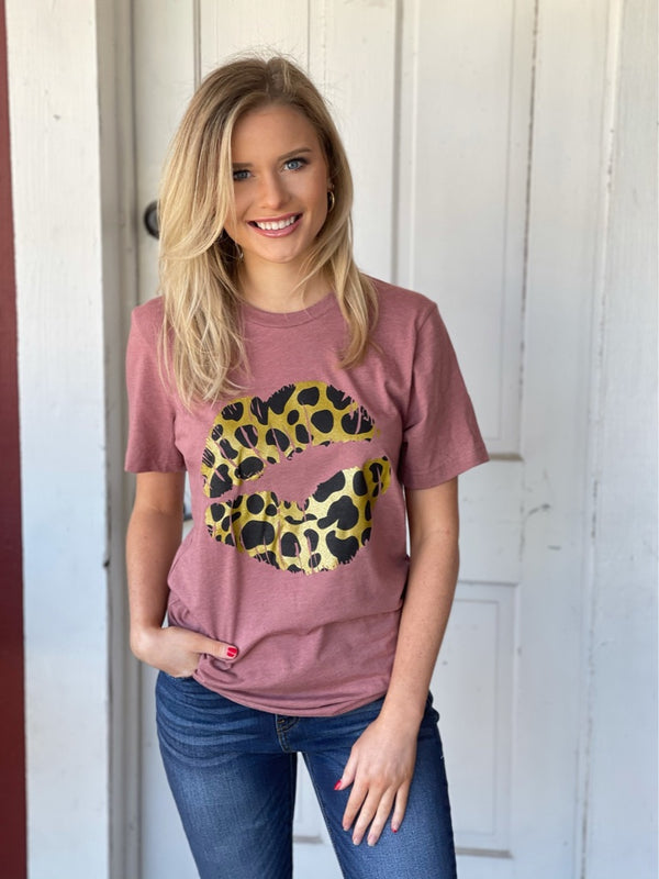 Mauve Leopard Lips Graphic Tee