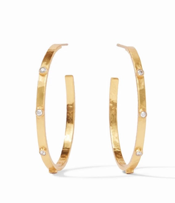 Crescent Stone Hoop Gold Cubic Zirconia Large