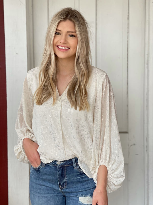 Ivory Shimmer Flowy Blouse