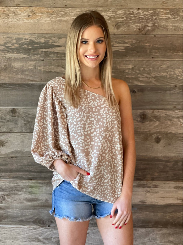Taupe & Ivory One Shoulder Top