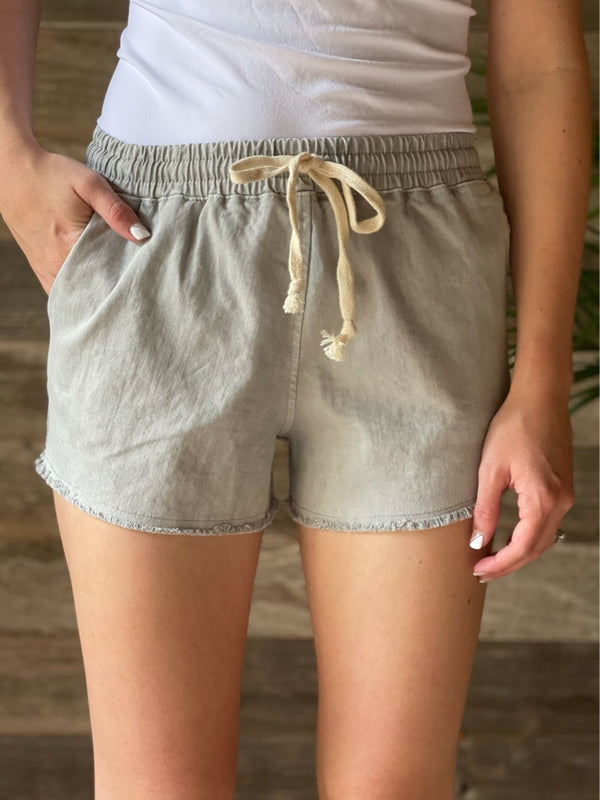 Light Gray Drawstring Shorts