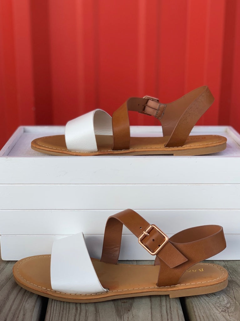 Ankle Strap White Sandals