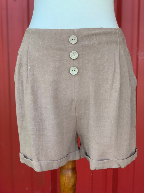 Linen Blend High Waist Shorts