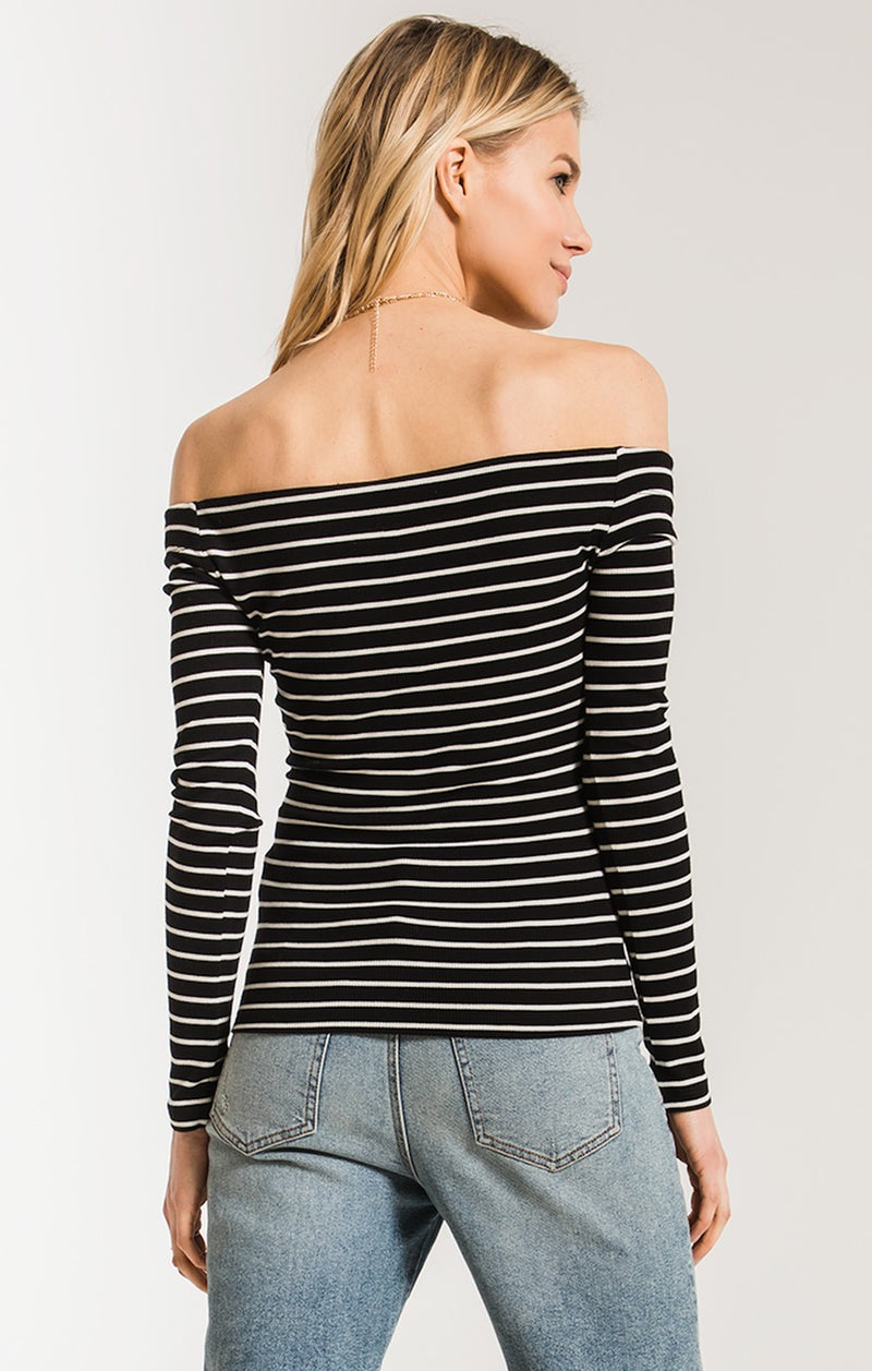 The Stripe Longsleeve Off Shoulder Top