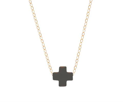 Signature Cross Necklace Gold Charcoal