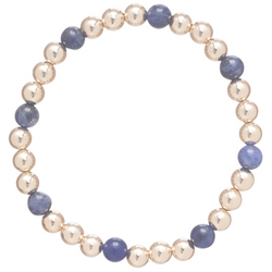 Gold Sincerity Pattern 5mm Bead Bracelet Sodalite