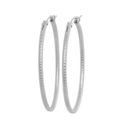 Oval Sterling Textured Hoop