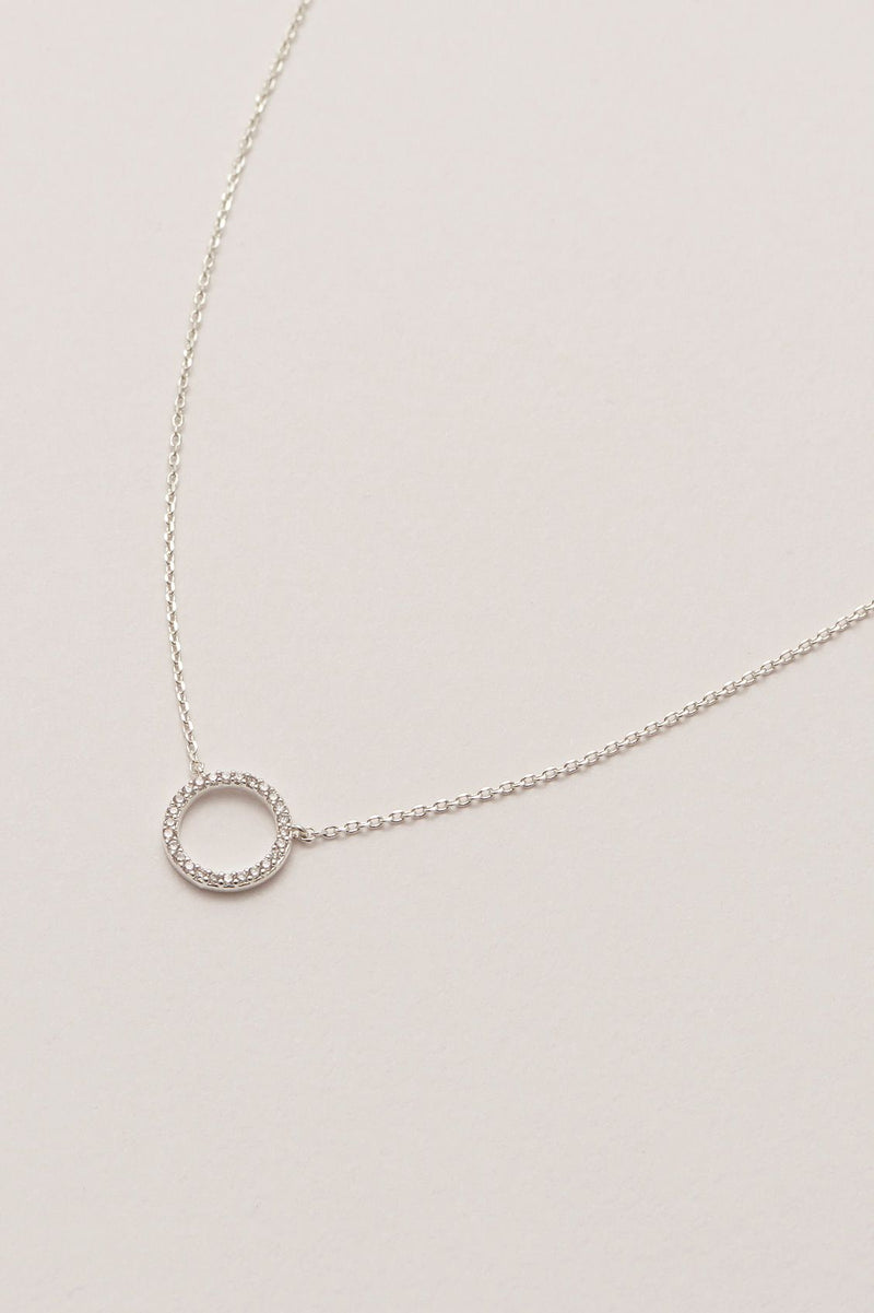 Large Pave Set Circle Necklace Silver