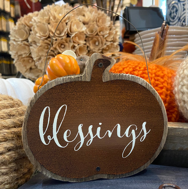 Assorted Barnwood and Tin Pumpkin Message Ornament Blessings
