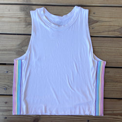 White Malibu Stripe Trim Top