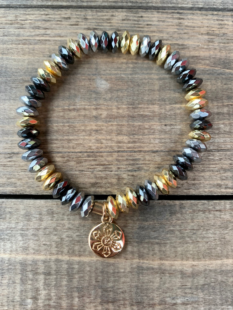 Metal Faced Bead Bracelet Gold/ Grey