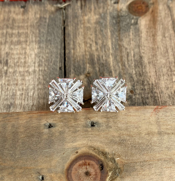 Ice Blue Trillion Earrings