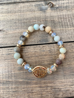 Stone Bead Bracelet Blessings Symbol Water